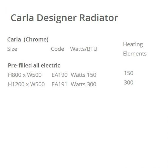 Phoenix Carla Designer Chrome Electric Radiator - spec