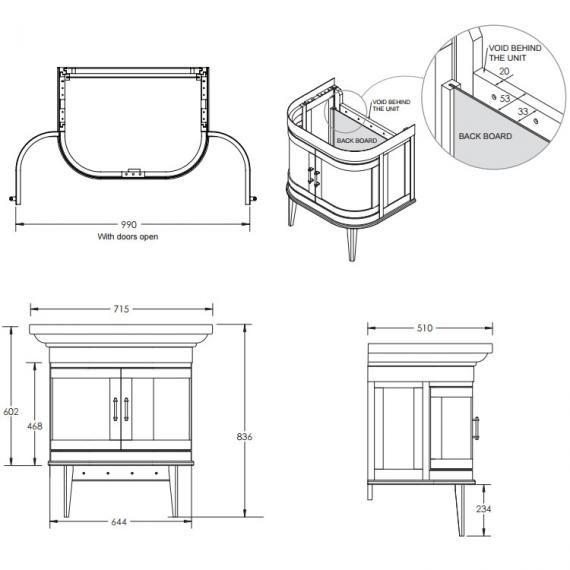 Imperial Carlyon Thurlestone Curved Vanity Unit & Basin Specification