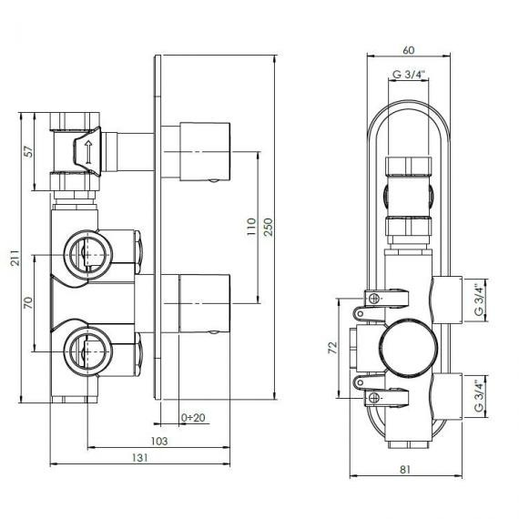 Crosswater Central Thermostatic Shower Valve Specification