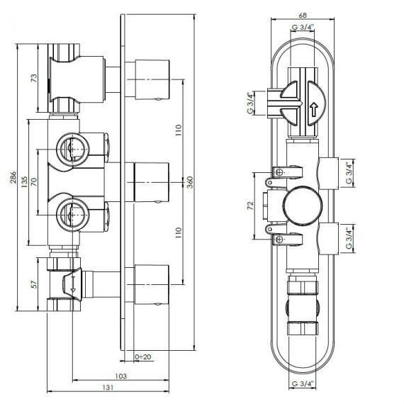 Crosswater Central Thermostatic Shower Valve With 3 Way Diverter Specification