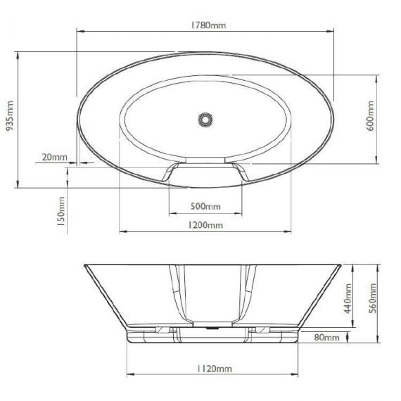 BC Designs Chalice Major 1780mm Freestanding Bath Specification