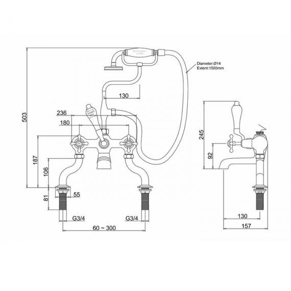 Burlington Anglesey Deck Mounted Bath Shower Mixer - Spec