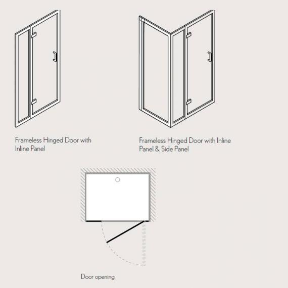 Simpsons Classic Hinged Shower Door With Inline Panel