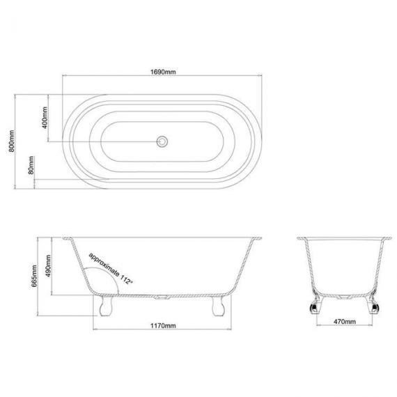Clearwater Classico Grande Clear Stone Freestanding Bath & Feet Specification