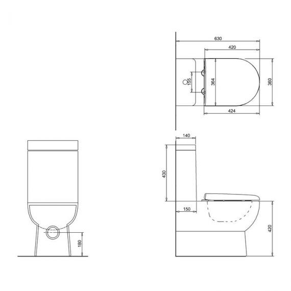 Britton Compact Back To Wall Close Coupled WC, Cistern & Seat - Spec