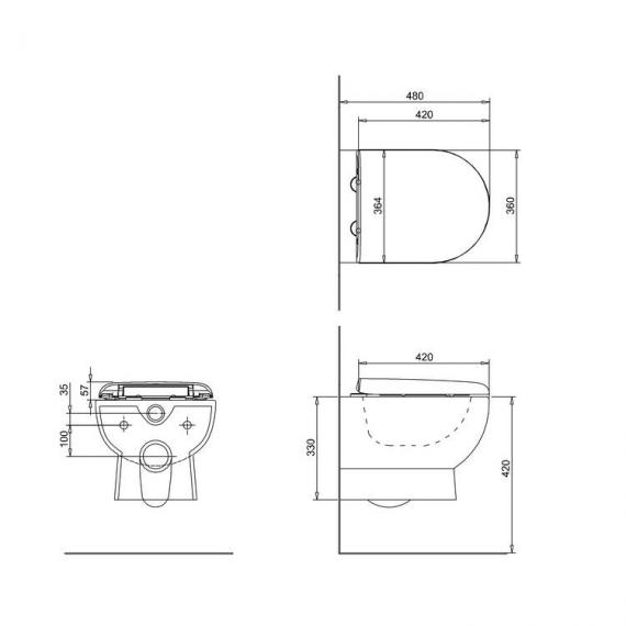 Britton Compact Wall Hung Pan & Soft Close Seat - Spec