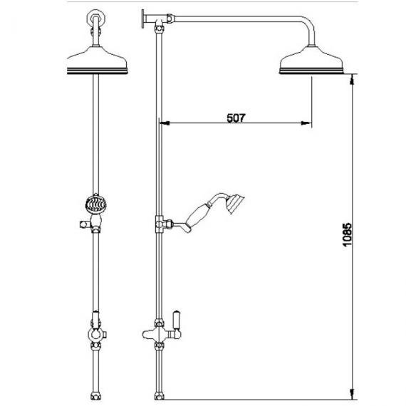 BC Designs Victrion Superbe Fixed Riser Kit With Showerhead & Handset Specification