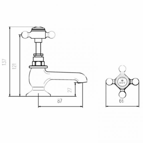 BC Designs Victrion Crosshead Bath Pillar Taps Specification