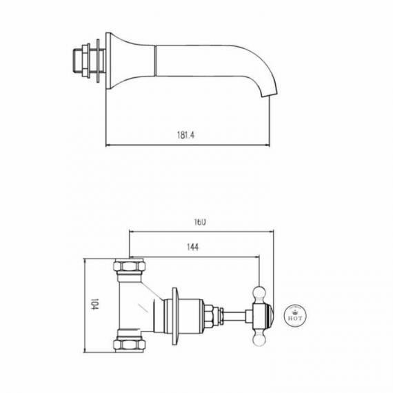 BC Designs Victrion Lever 3 Hole Wall Mounted Bath Filler Specification