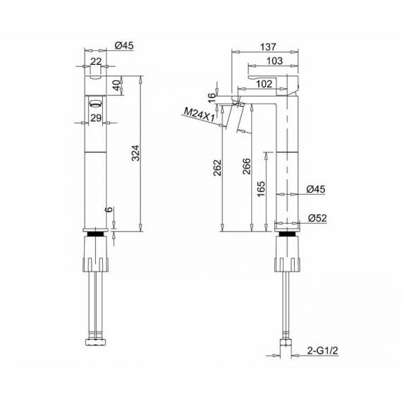 Crystal Tall Basin Mixer Specification