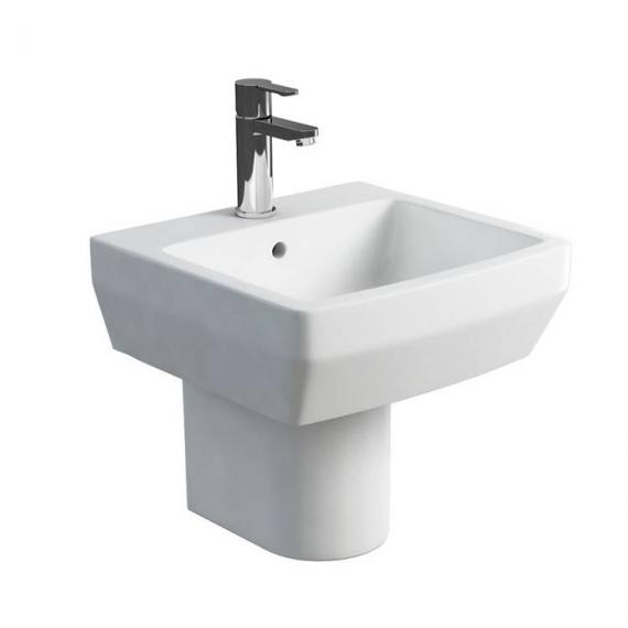 Britton Cube 500mm Basin & Round Fronted Semi Pedestal