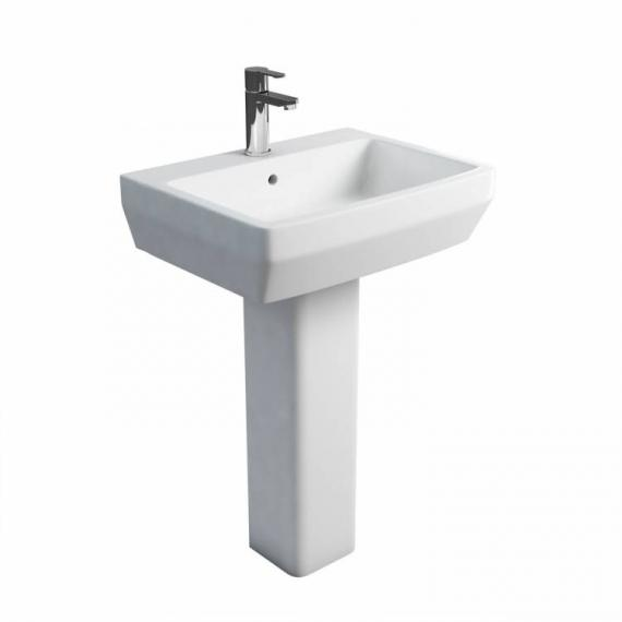 Britton Cube 600mm Basin & Square Fronted Pedestal - Image 2
