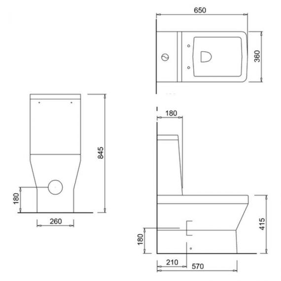 Britton Cube Close Coupled WC, Cistern & Soft Close Seat - Spec