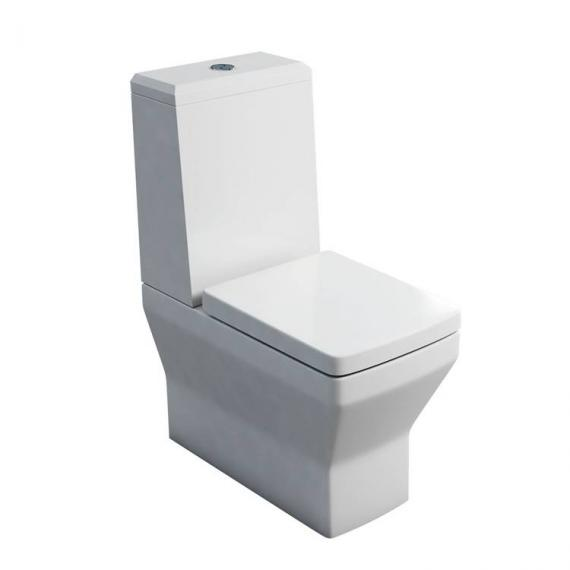 Britton Cube Close Coupled WC, Angled Lid Cistern & Soft Close Seat