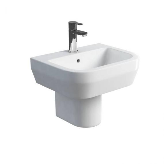 Britton Curve 500mm Basin & Round Fronted Semi Pedestal - Image 3