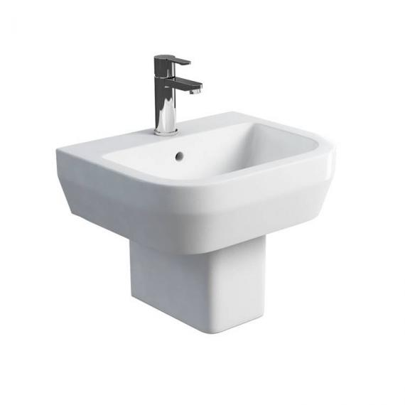 Britton Curve 500mm Basin & Square Fronted Semi Pedestal