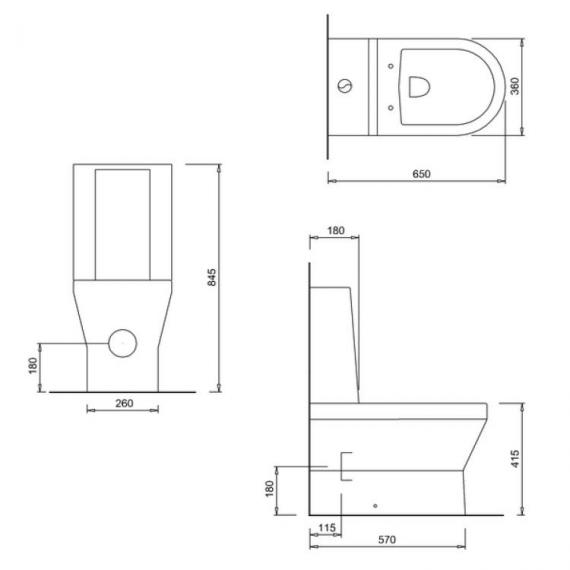 Britton Curve Back To Wall Close Coupled WC, Cistern & Soft Close Seat - Spec
