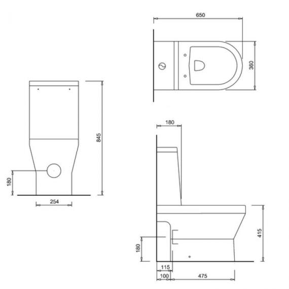Britton Curve Open Back Close Coupled WC, Cistern & Seat - Spec