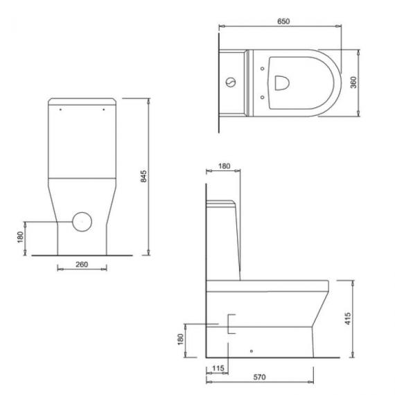 Britton Curve S30 Back To Wall Close Coupled WC, Angled Cistern & Seat - Spec