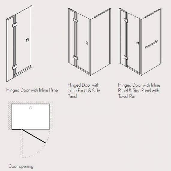 Simpsons Design Hinged Shower Door With Inline Panel Specification