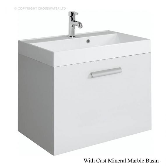 Bauhaus Design Plus 70 Drawer White Gloss Vanity Unit & Cast Mineral Basin