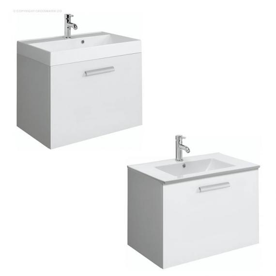 Bauhaus Design Plus 70 Drawer White Gloss Vanity Unit & Basin