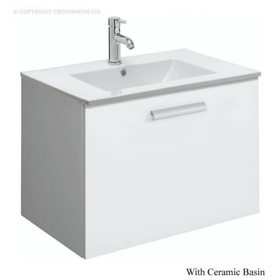 Bauhaus Design Plus 70 Drawer White Gloss Vanity Unit & Ceramic Basin