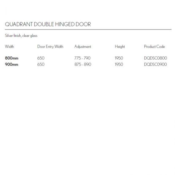 Simpsons Design Double Door Quadrant Shower Enclosure Specification