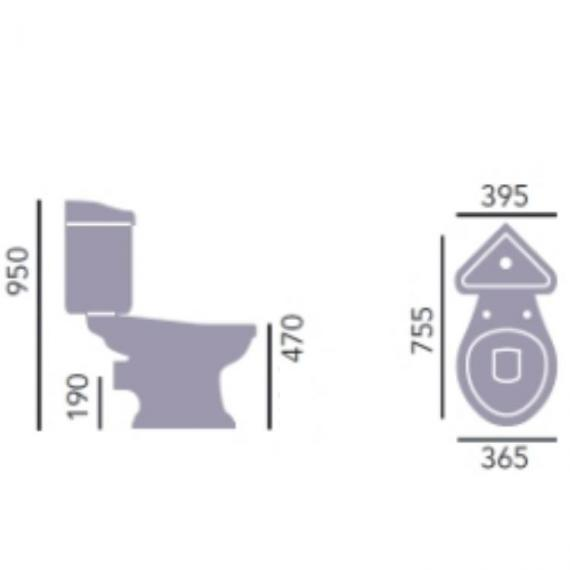 Heritage Dorchester Close Coupled Comfort Height Corner WC & Cistern Specification