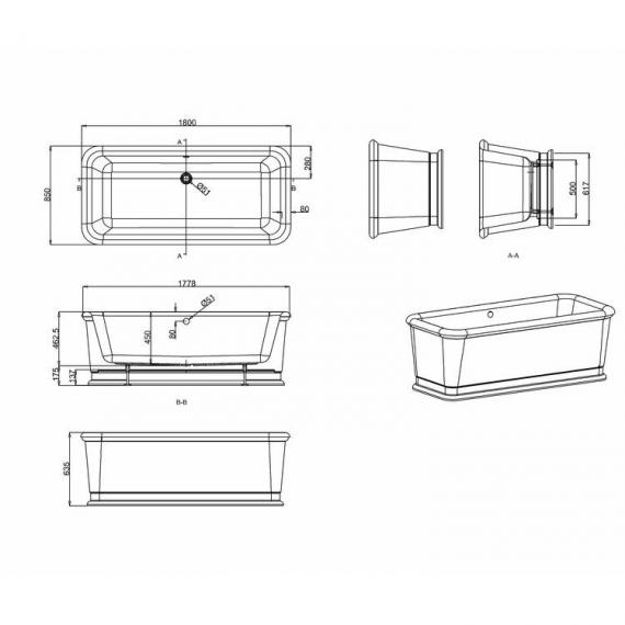 Burlington London Rectangular Soaking Tub - Spec