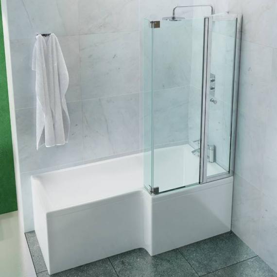 Britton Cleargreen EcoSquare 1700 x 700mm Shower Bath - Right Hand
