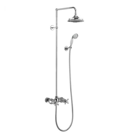 Burlington Eden Exposed Shower Bar With Rigid Riser, Shower Rose & Handset