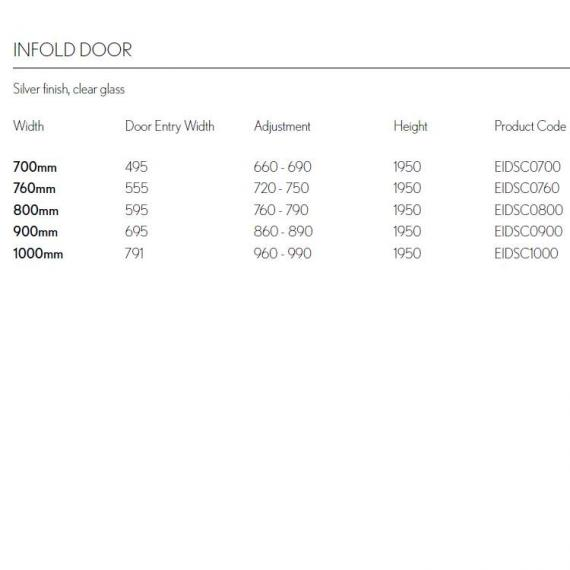 Simpsons Edge Infold Shower Door Specification