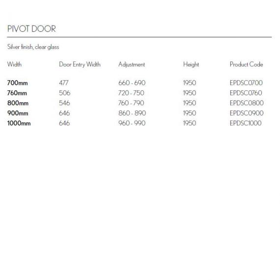 Simpsons Edge Pivot Shower Door Specification