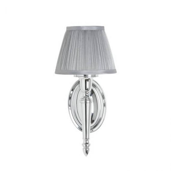Arcade Oval Base Bathroom Wall Light With Chiffon Silver Pleat Shade