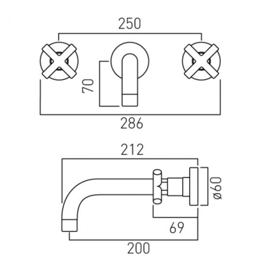 Vado Elements Wall Mounted Basin Mixer With 200mm Spout Specification