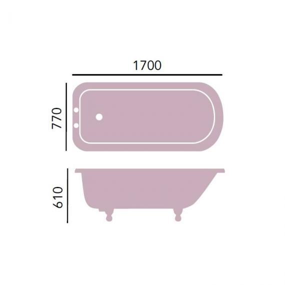 Heritage Essex Cast Iron Roll Top Freestanding Bath & Feet Specification