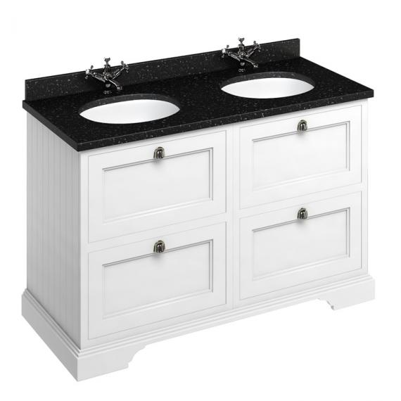 Burlington Matt White 1300mm Double Vanity Unit With Drawers, Worktop & Basin - Image 3