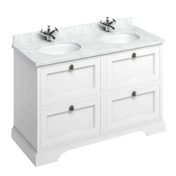 Burlington Matt White 1300mm Double Vanity Unit With Drawers, Worktop & Basin - Image 5