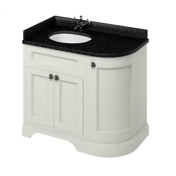 Burlington Sand 1000mm Curved Vanity Unit With Doors, Worktop & Basin - Left Hand - Image 3