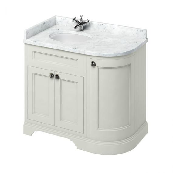 Burlington Sand 1000mm Curved Vanity Unit With Doors, Worktop & Basin - Left Hand - Image 5