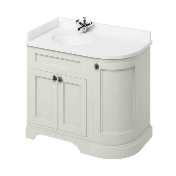 Burlington Sand 1000mm Curved Vanity Unit With Doors, Worktop & Basin - Left Hand