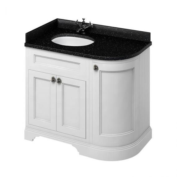Burlington Matt White 1000mm Curved Vanity Unit With Doors, Worktop & Basin - Left Hand - Image 3