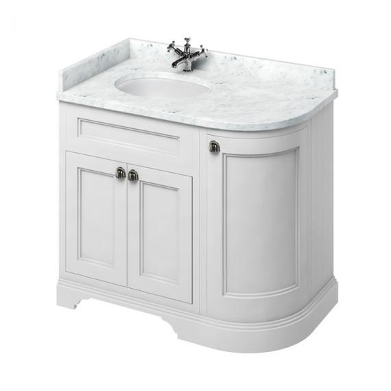 Burlington Matt White 1000mm Curved Vanity Unit With Doors, Worktop & Basin - Left Hand - Image 5