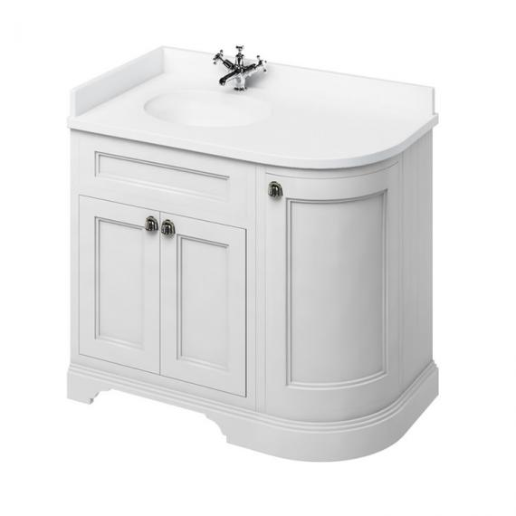 Burlington Matt White 1000mm Curved Vanity Unit With Doors, Worktop & Basin - Left Hand