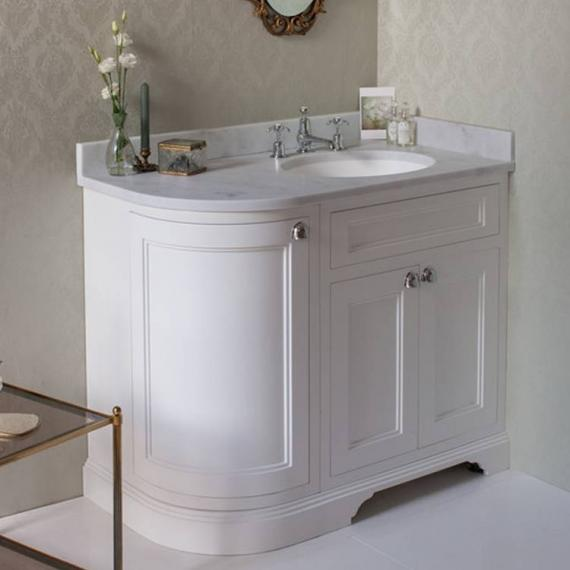 Burlington Matt White 1000mm Curved Vanity Unit With Doors, Worktop & Basin - Right Hand - Image 8