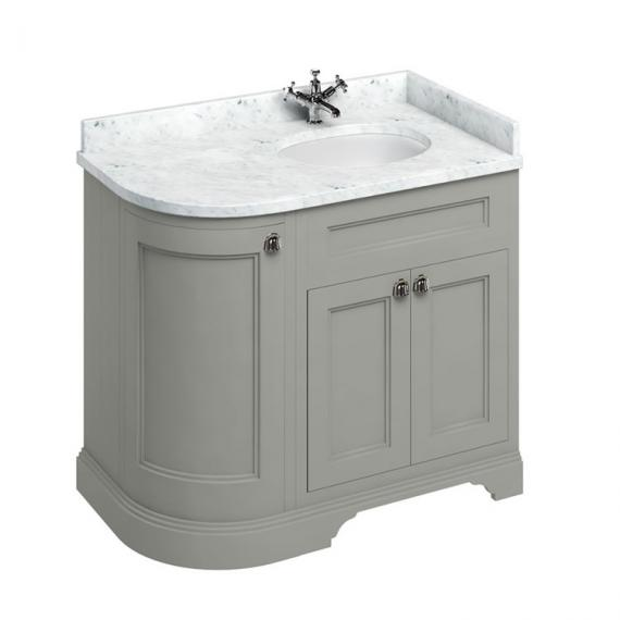 Burlington Olive 1000mm Curved Vanity Unit With Doors, Worktop & Basin - Right Hand - Image 5