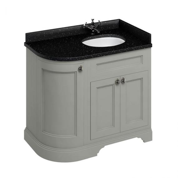 Burlington Olive 1000mm Curved Vanity Unit With Doors, Worktop & Basin - Right Hand - Image 3