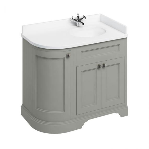 Burlington Olive 1000mm Curved Vanity Unit With Doors, Worktop & Basin - Right Hand