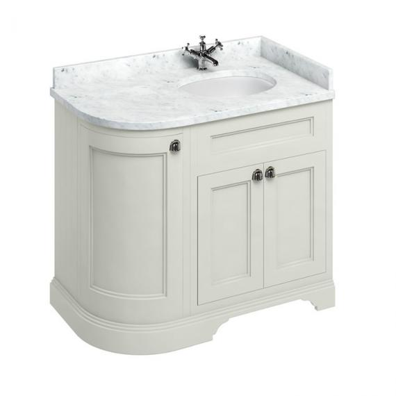 Burlington Sand 1000mm Curved Vanity Unit With Doors, Worktop & Basin - Right Hand - Image 5